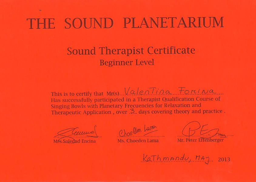 Сертификат целителя поющими чашами